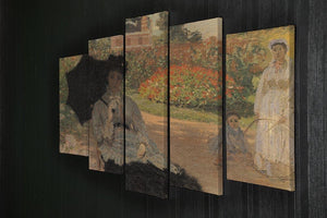Camille in the garden with Jean and his nanny by Monet 5 Split Panel Canvas - Canvas Art Rocks - 2