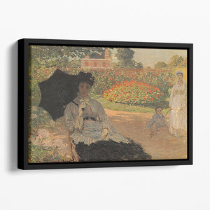 Camille in the garden with Jean and his nanny by Monet Floating Framed Canvas