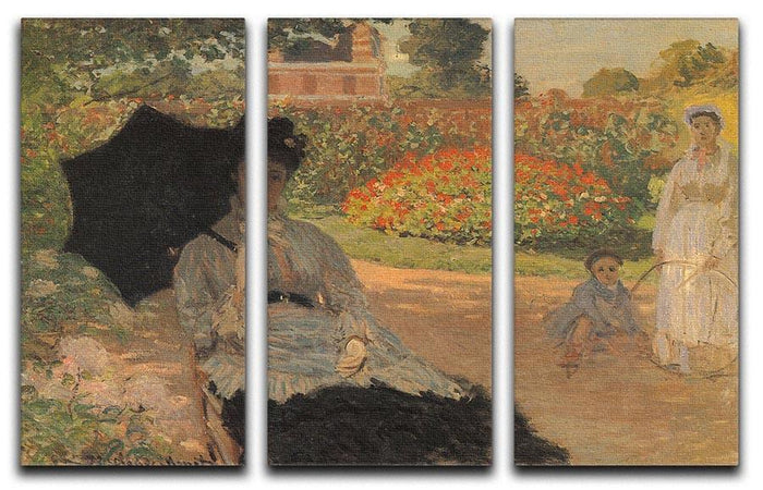 Camille in the garden with Jean and his nanny by Monet Split Panel Canvas Print