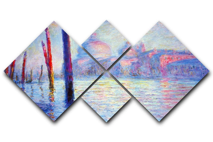 Canal Grand by Monet 4 Square Multi Panel Canvas