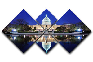 Capitol Hill Building at dusk with lake reflection 4 Square Multi Panel Canvas  - Canvas Art Rocks - 1
