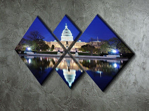 Capitol Hill Building at dusk with lake reflection 4 Square Multi Panel Canvas  - Canvas Art Rocks - 2