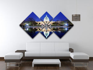Capitol Hill Building at dusk with lake reflection 4 Square Multi Panel Canvas  - Canvas Art Rocks - 3