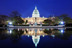 Capitol Hill Building at dusk with lake reflection Wall Mural Wallpaper - Canvas Art Rocks - 1