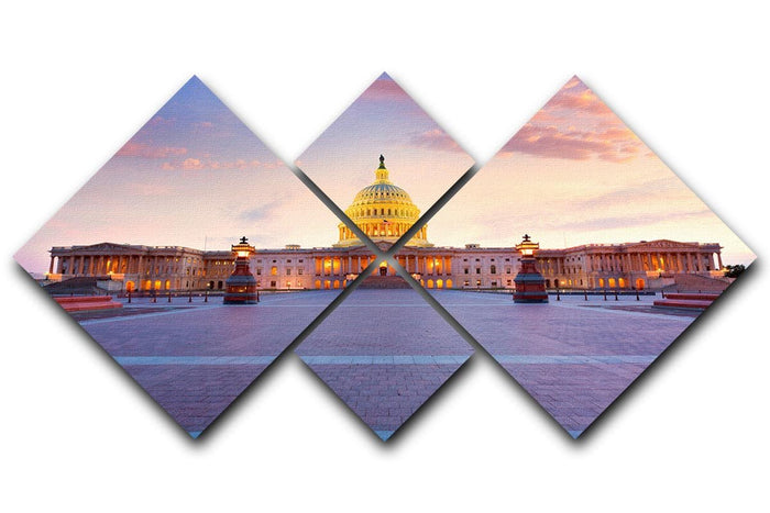 Capitol building sunset 4 Square Multi Panel Canvas