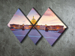 Capitol building sunset 4 Square Multi Panel Canvas  - Canvas Art Rocks - 2