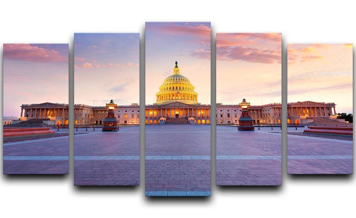 Capitol building sunset 5 Split Panel Canvas