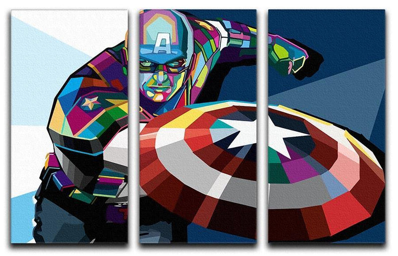 Captain America Pop Art 3 Split Panel Canvas Print - Canvas Art Rocks - 4