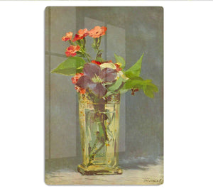 Carnations and Clematis in a Crystal Vase by Manet HD Metal Print
