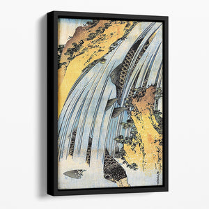 Carps ascending waterfall by Hokusai Floating Framed Canvas