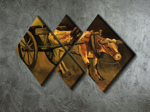 Cart with Red and White Ox by Van Gogh 4 Square Multi Panel Canvas - Canvas Art Rocks - 2