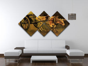 Cart with Red and White Ox by Van Gogh 4 Square Multi Panel Canvas - Canvas Art Rocks - 3