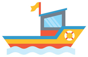 Cartoon Boat Wall Decal - US Canvas Art Rocks