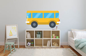 Cartoon Bus Wall Decal - US Canvas Art Rocks