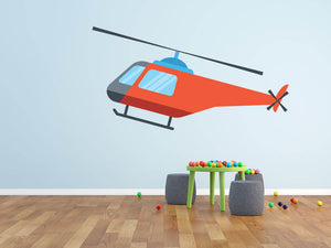 Cartoon Helicopter Wall Decal - US Canvas Art Rocks