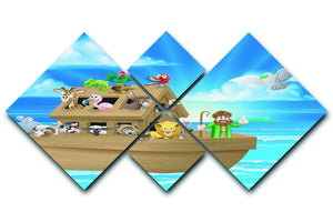 Cartoon childrens illustration of the Christian Bible story of Noah 4 Square Multi Panel Canvas  - Canvas Art Rocks - 1