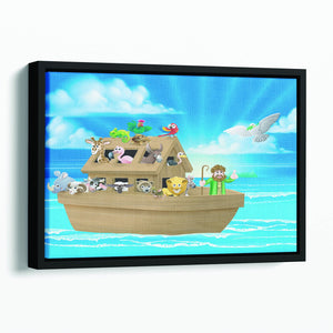 Cartoon childrens illustration of the Christian Bible story of Noah Floating Framed Canvas