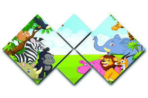 Cartoon collection animal in the jungle 4 Square Multi Panel Canvas  - Canvas Art Rocks - 1
