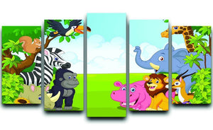 Cartoon collection animal in the jungle 5 Split Panel Canvas  - Canvas Art Rocks - 1