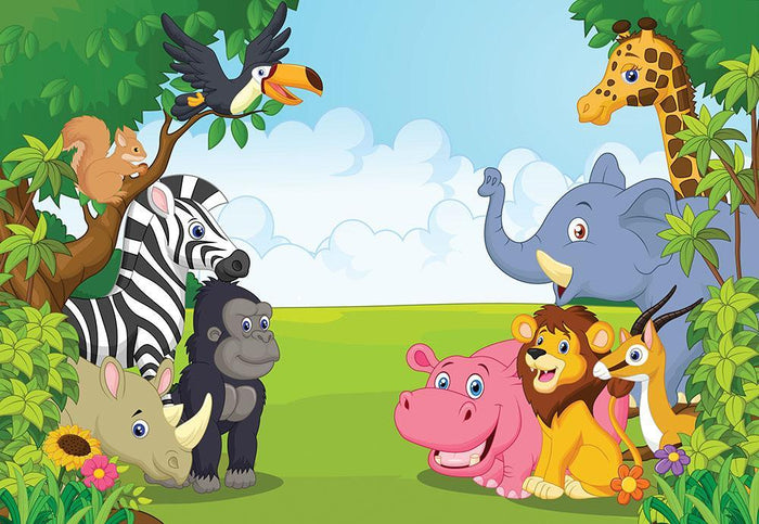 Cartoon collection animal in the jungle Wall Mural Wallpaper