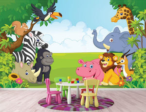 Cartoon collection animal in the jungle Wall Mural Wallpaper - Canvas Art Rocks - 2