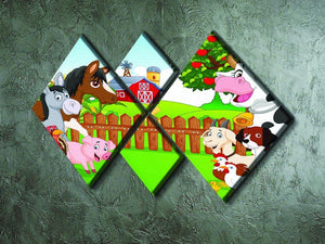 Cartoon happy animal collection 4 Square Multi Panel Canvas - Canvas Art Rocks - 2