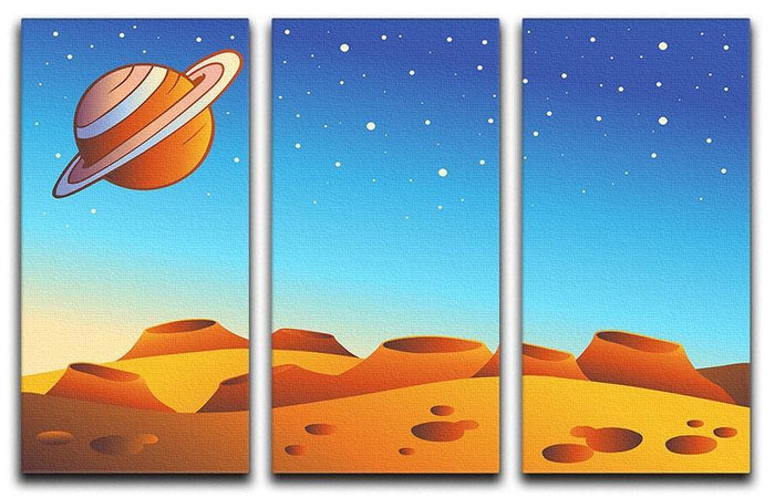 Cartoon red planet landscape 3 Split Panel Canvas Print