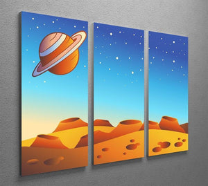 Cartoon red planet landscape 3 Split Panel Canvas Print - Canvas Art Rocks - 2