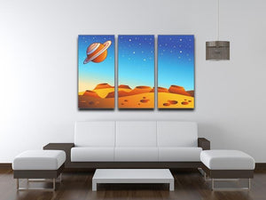 Cartoon red planet landscape 3 Split Panel Canvas Print - Canvas Art Rocks - 3