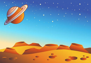 Cartoon red planet landscape Wall Mural Wallpaper - Canvas Art Rocks - 1