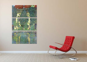 Castle at the Attersee by Klimt 3 Split Panel Canvas Print - Canvas Art Rocks - 2