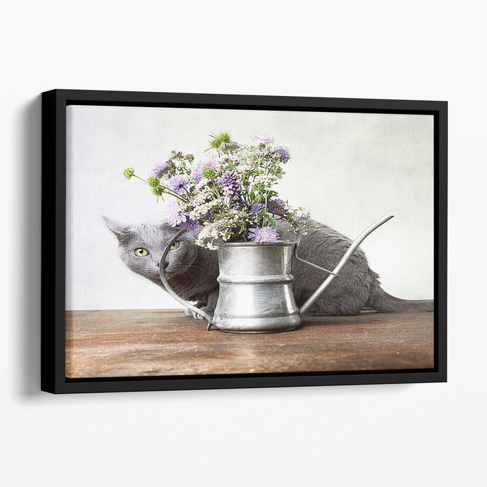 Cat with Flowers in old decorative watering can Floating Framed Canvas