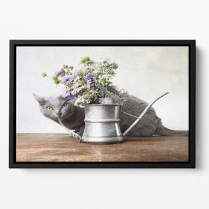 Cat with Flowers in old decorative watering can Floating Framed Canvas - Canvas Art Rocks - 2
