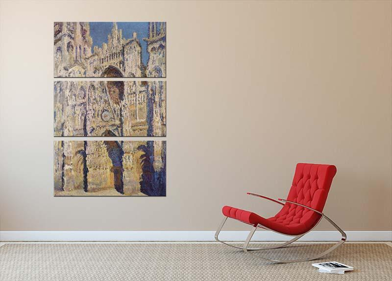 Cathedral at Rouen by Monet 3 Split Panel Canvas Print - Canvas Art Rocks - 2