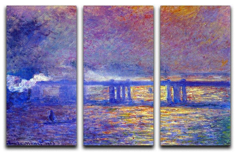 Charing cross bridge by Monet Split Panel Canvas Print - Canvas Art Rocks - 4