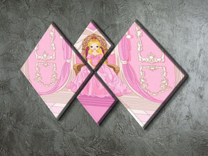 Charming Princess sits on a throne 4 Square Multi Panel Canvas - Canvas Art Rocks - 2