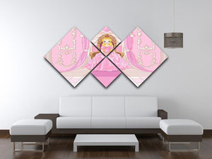Charming Princess sits on a throne 4 Square Multi Panel Canvas - Canvas Art Rocks - 3