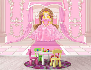 Charming Princess sits on a throne Wall Mural Wallpaper - Canvas Art Rocks - 2