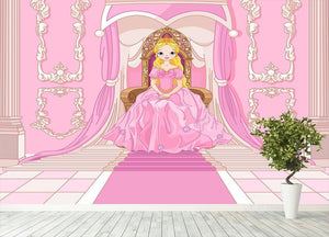 Charming Princess sits on a throne Wall Mural Wallpaper - Canvas Art Rocks - 4