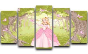 Charming princess a fantastic wood 5 Split Panel Canvas  - Canvas Art Rocks - 1
