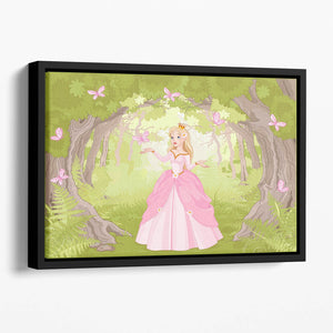 Charming princess a fantastic wood Floating Framed Canvas