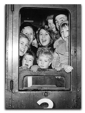 Cheerful train evacuees Canvas Print or Poster  - Canvas Art Rocks - 1