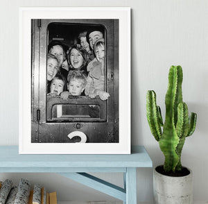 Cheerful train evacuees Framed Print - Canvas Art Rocks - 5