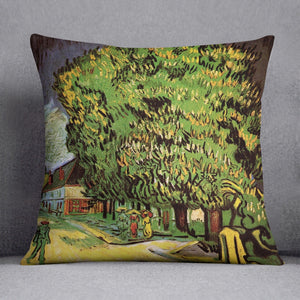 Chestnut Trees in Blossom by Van Gogh Throw Pillow