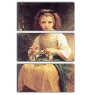 Child Braiding A Crown By Bouguereau 3 Split Panel Canvas Print - Canvas Art Rocks - 1