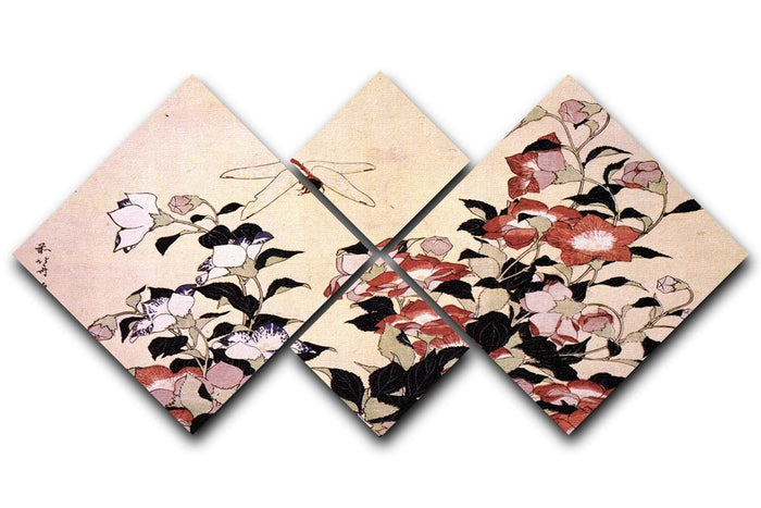 Chinese bell flower and dragon-fly by Hokusai 4 Square Multi Panel Canvas
