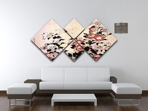 Chinese bell flower and dragon-fly by Hokusai 4 Square Multi Panel Canvas - Canvas Art Rocks - 3