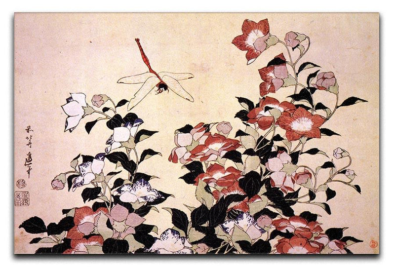 Chinese bell flower and dragon-fly by Hokusai Canvas Print or Poster  - Canvas Art Rocks - 1