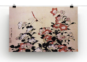 Chinese bell flower and dragon-fly by Hokusai Canvas Print or Poster - Canvas Art Rocks - 2