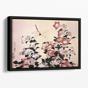 Chinese bell flower and dragon-fly by Hokusai Floating Framed Canvas